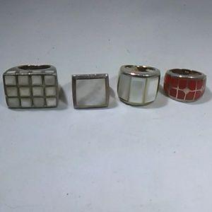 Vintage rings sterling silver stone rings lot